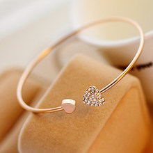 2019 Hot New Fashion Adjustable Crystal Double Heart Bow Bracelet Cuff Opening Bracelet For Women Jewelry Gift Women Bracelets(China)