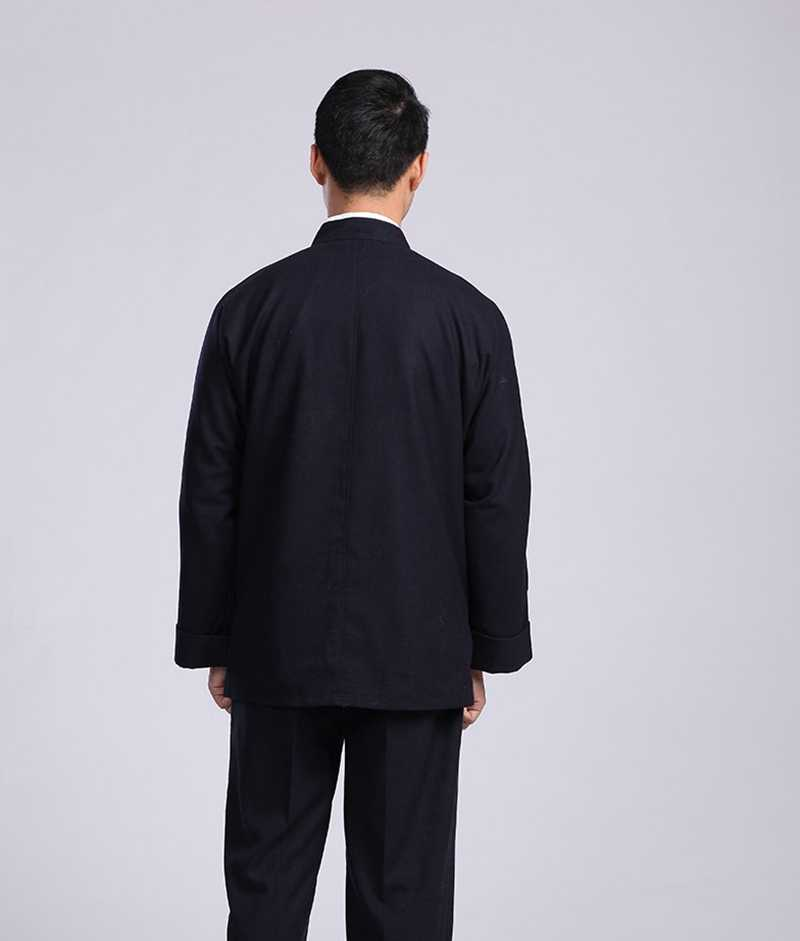 Куртка 중간 나이 따뜻한 남자 긴 소매 정장 가을 겨울 모직 남성 민족 의상 두꺼운 Hanfu 정장 재킷 남성