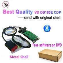 20pcs/lot DHL Best Diagnostic Tool V8.0 PCB Board with bluetooth 2017.R3 with keygen VD DS150E CDP OBD2 Scanner tool with CASE