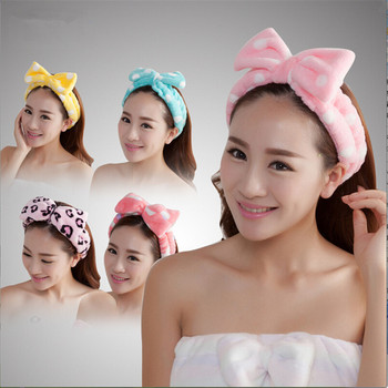 YJ Coral Fleece Bow Headbands For Women Girls Wash Face Makeup Bath Solid Striped Polka Dots Hairband Turban Hair Accessories image