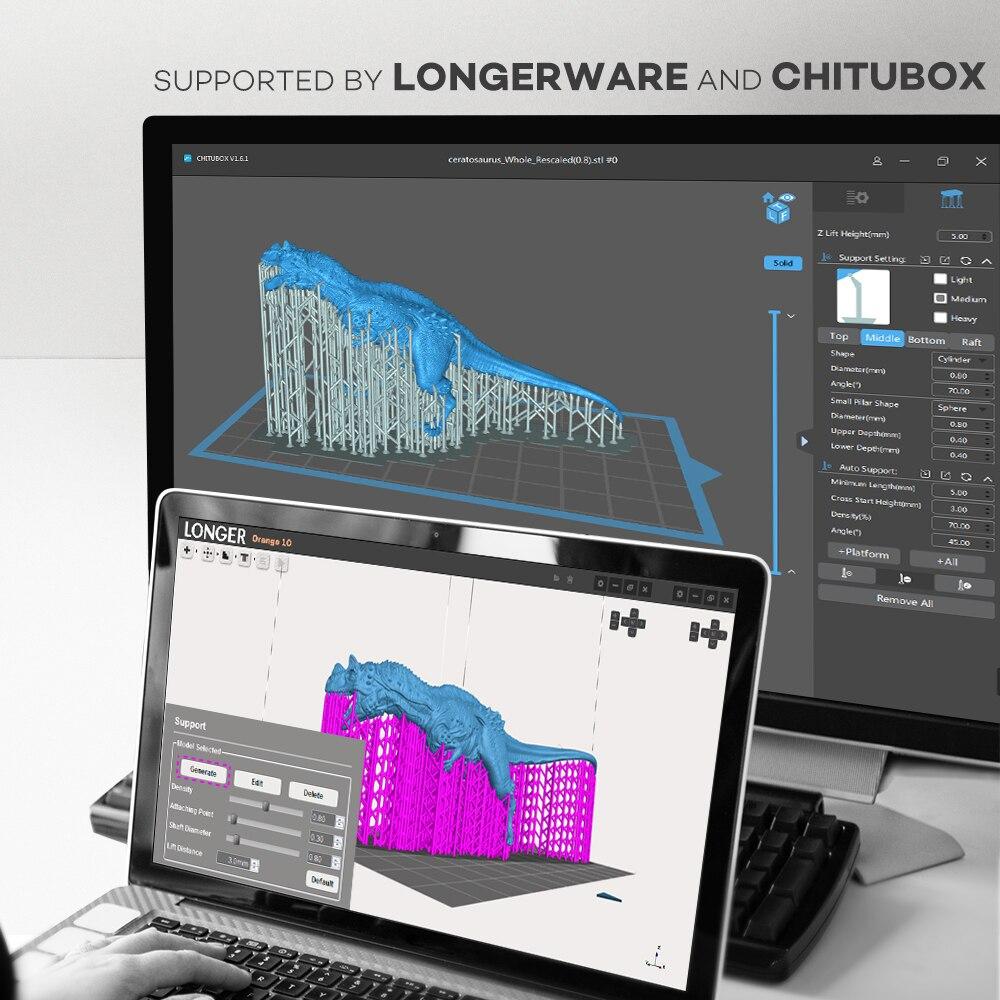 Image 3 - LONGER ORANGE 10 LCD SLA zestaw do drukarka 3D z żywicą Matrix oświetlenie UV żywicy drukarki 3D w całości z metalu ciała 3D druku żywicy drukarki Printer 3D UV PrinterDrukarki 3D   -
