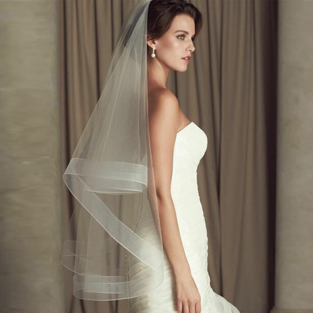 2020 New One Layer White Fingertip Bride Veil Short Bridal Wedding Veils Without Comb