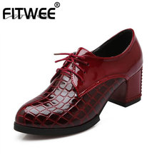 FITWEE Women High Heel Shoes Patent Leather  Sexy New Patchwork Pumps Fashion Spring Office Daily Size 33-43