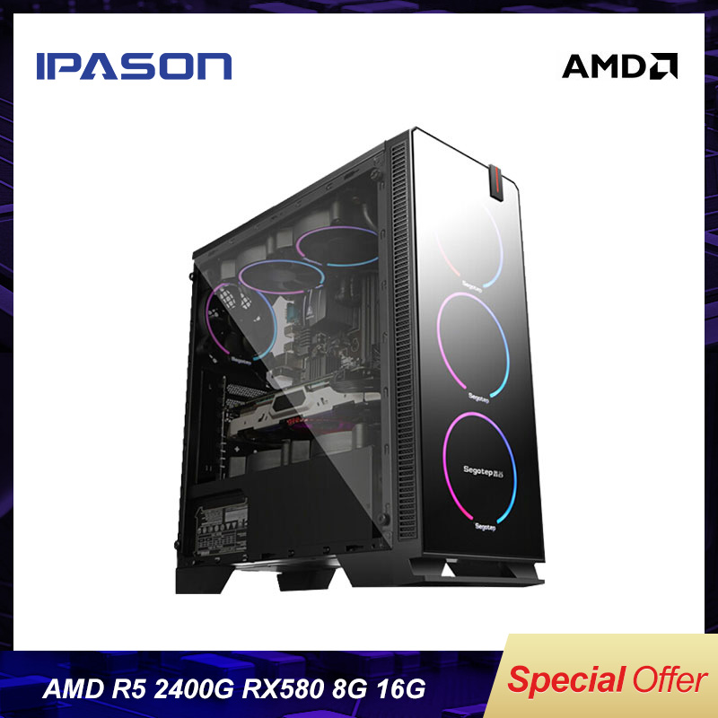 IPASON CHEAP Gaming PC AMD Ryzen5 2400G/B450M/ASUS RX580 8G Dedicated Card DDR4 16G RAM 1T+240GSSD Desktop Computer