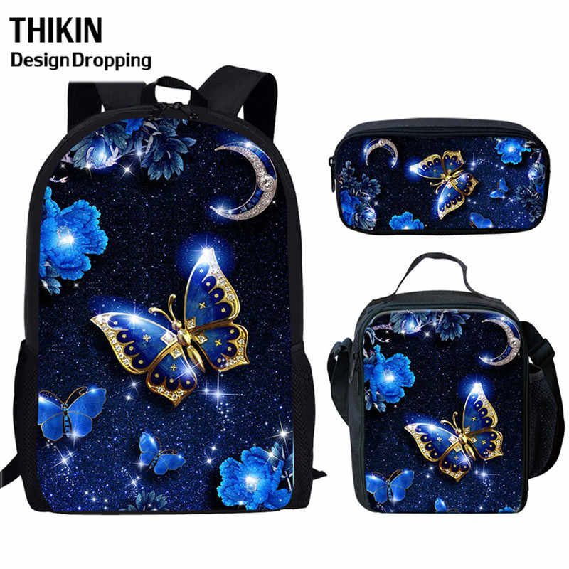 THIKN 3PCS Blue Butterfly School Bag Set School Backpack for Teenagers Girls Boys Student Travel Book Bag Schoolbags for Gifts