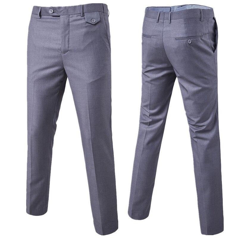 2020 Mens Pants Spring Autumn Fashion Business Solid Casual Long Suit Pants Elastic Straight Formal Dress Trousers Plus Size 6XL