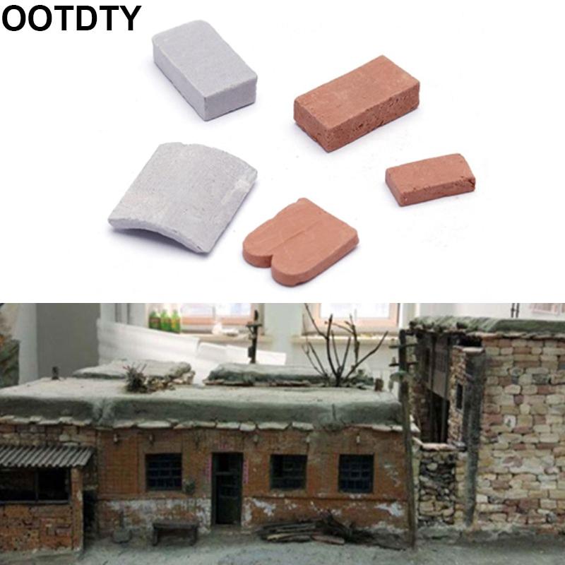 Miniaturas de azulejos de tijolos, miniatura, modelo diy, areia, mesa de parede manual, 100/80 pc 1/16 1/35