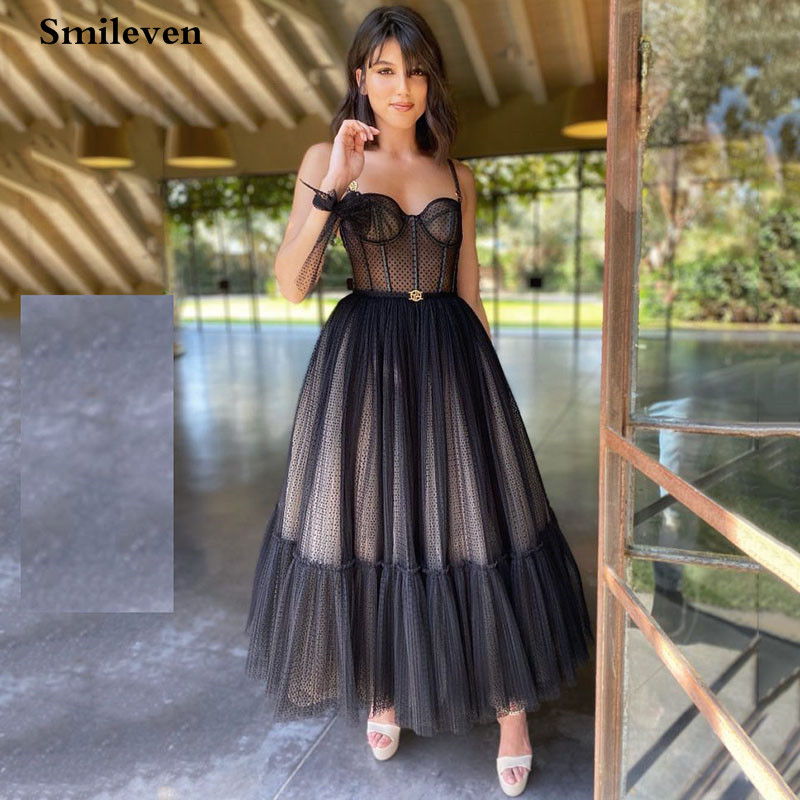 Smileven Modern Black Dotted Tulle Short Prom Dresses Spaghetti Straps Evening Gowns Sweetheart Corset Prom Party Gowns 1