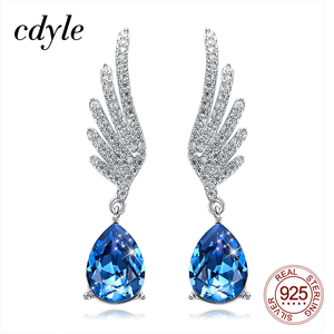 Image 1 - Cdyle Silver 925 Fine Jewelry Angel Wing Dangle Earrings with Blue Angel Teardrop Crystal for Bridal Wedding Ear Accessories