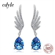 Cdyle srebro 925 Fine Jewelry Angel Wing Dangle kolczyki z niebieskim aniołem Teardrop Crystal dla nowożeńców ślubne akcesoria do uszu