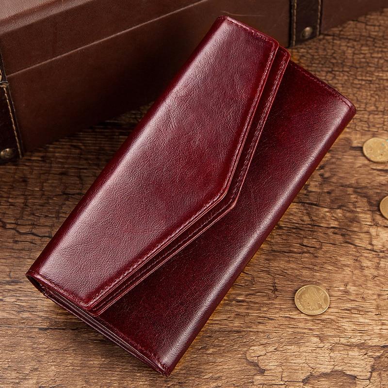 Image 5 - KAVIS Genuine Leather Wallet Female Coin Purse Women Portomonee  Clutch  Lady Clamp for Phone Bag Zipper Card Holder Handy PerseWallets