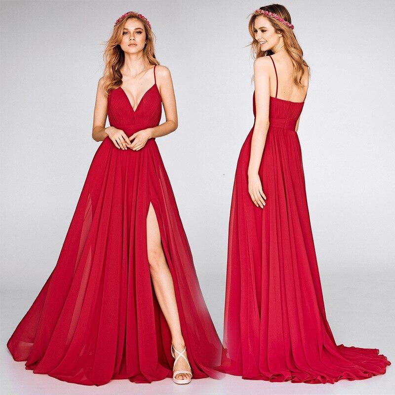 BacklakeGirls Evening Dresses Formal V Neck Chiffon Long Sexy Red Evening Dress Special Party Dress Vestido Da Dama De Honra