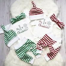 Рождественская Одежда для новорожденных мальчиков и девочек, комбинезон с длинными рукавами и надписью, комплект со штанами в полоску