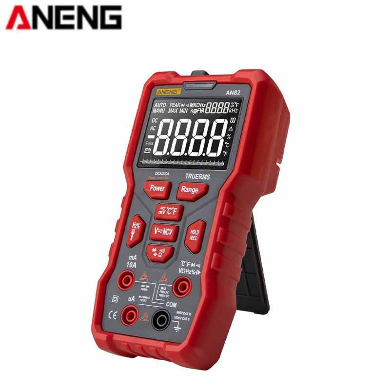 Aneng Profesional AN82 Digital Multimeter 9999 Tester DIY Transistor Kapasitor Ncv True RMS Analog Meter Amp Multimetro Aksesoris