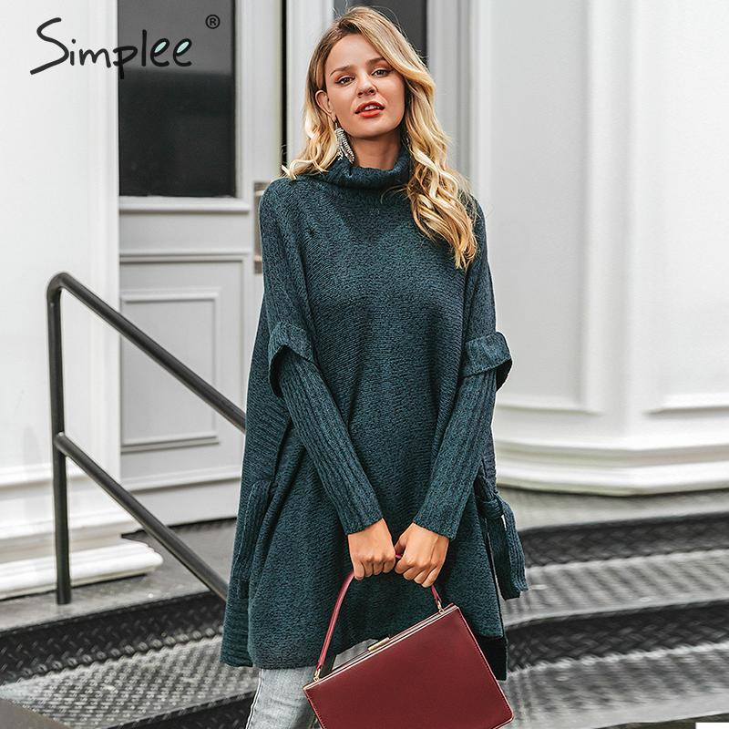 Simplee Turtleneck Women Sweater Cloak Bat Sleeve Autumn Winter Female Pullover Sweater Long Sleeve Solid Ladies Sweater Poncho