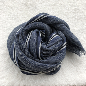 Image 2 - 2020 New Style Spring And Summer Leisure Business Mens Linen Scarf Solid Color Clause Versatile Breathable Shawl