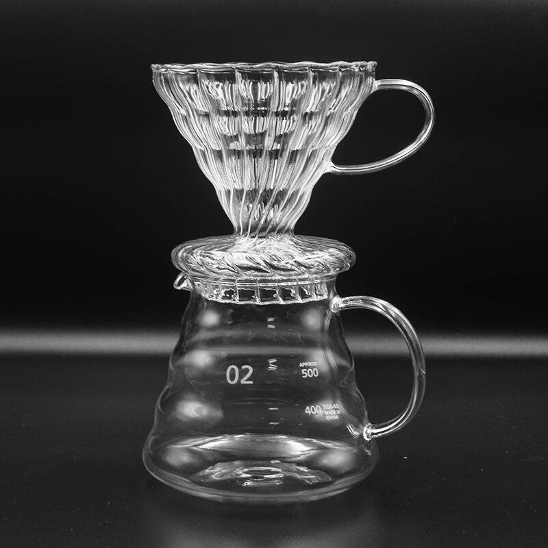 600ML de Vidro de Café estilo Gotejador e Pot Set para Japness V60 Vidro Filtros de Café de Filtro de Café Reutilizáveis