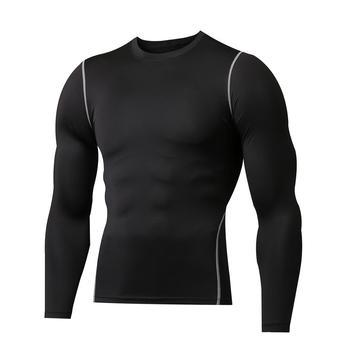Męskie sportowe bieganie bluza z długim rękawem lekkie aktywne bieganie trening mięśni koszule Dry fit t-shirty tanie i dobre opinie Poliester spandex Pływać Pasuje prawda na wymiar weź swój normalny rozmiar Garnitury ciała M1019 Stałe running
