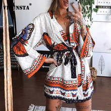 2021 Spring Butterfly Printed A-Line Party Dress Women Sexy Deep V-neck Long Sleeve Mini Dress Casual Loose Summer Beach Dresses