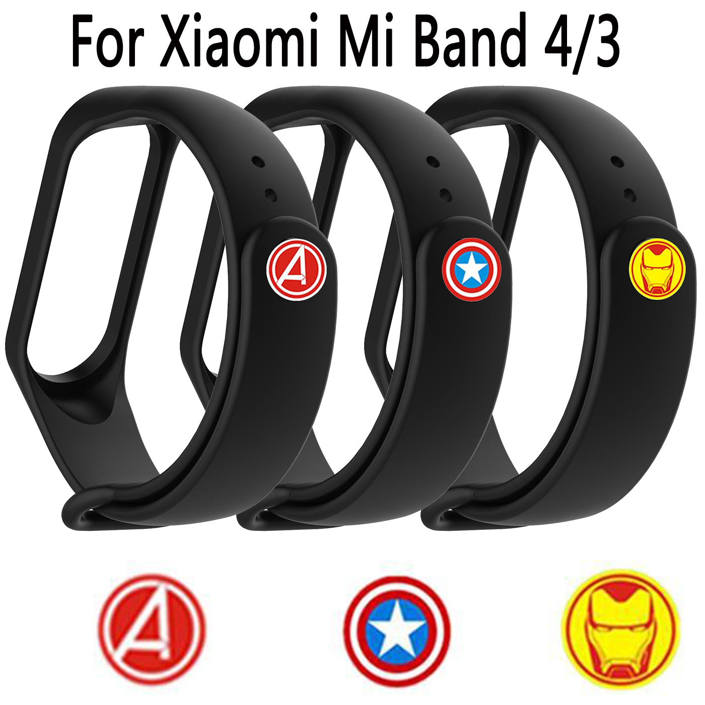 The <font><b>Avengers</b></font> Color Silicone Replacement Watch <font><b>Strap</b></font> For Xiaomi <font><b>Mi</b></font> <font><b>Band</b></font> <font><b>4</b></font> Wristband Accessories For Xiaomi <font><b>Mi</b></font> <font><b>Band</b></font> 3 Smart <font><b>Band</b></font> image