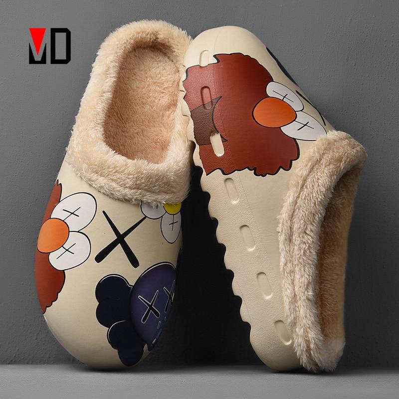 Winter Men Slippers New Cotton Plush Warm Slippers Platform Soft EVA Graffiti Cartoon Hand Painted Cartoon Women Unisex Size 46|Slippers| - AliExpress