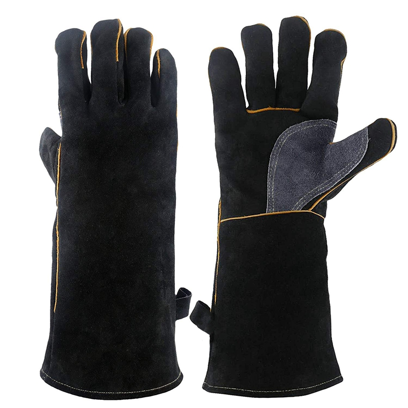 Extreme Heat&Fire Resistant Gloves Leather With Stitching,Mitts Perfect For Fireplace,Stove,Oven,Grill,Welding,Bbq,Mig,Pot Holde