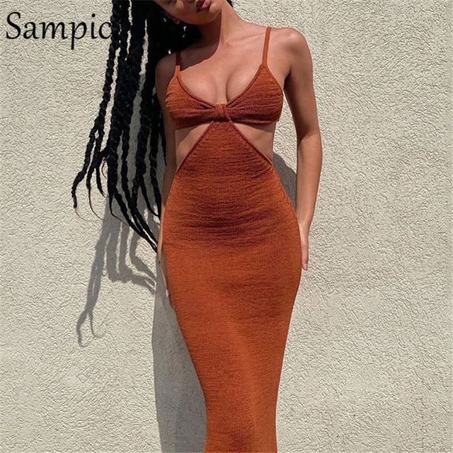 Sampic 2021 Women Strap Khaki Hollow Out Sexy Long Party Bodycon Dress Ladies V Neck Backless Night Club Cut Out Wrap Dress 3