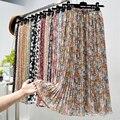 Sommer Röcke Frauen 2020 Neue Vintage Floral Print Chiffon Gefaltete Rock Elastische Hohe Taille Lässig Midi Rock Frauen Kleidung Jupe
