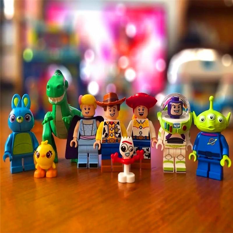 8Sets Toy Story 4 Buzz Lightyear Woody Jessie Alien Ducky Bo Peep Model Blocks Construction Building Bricks Toys For Children