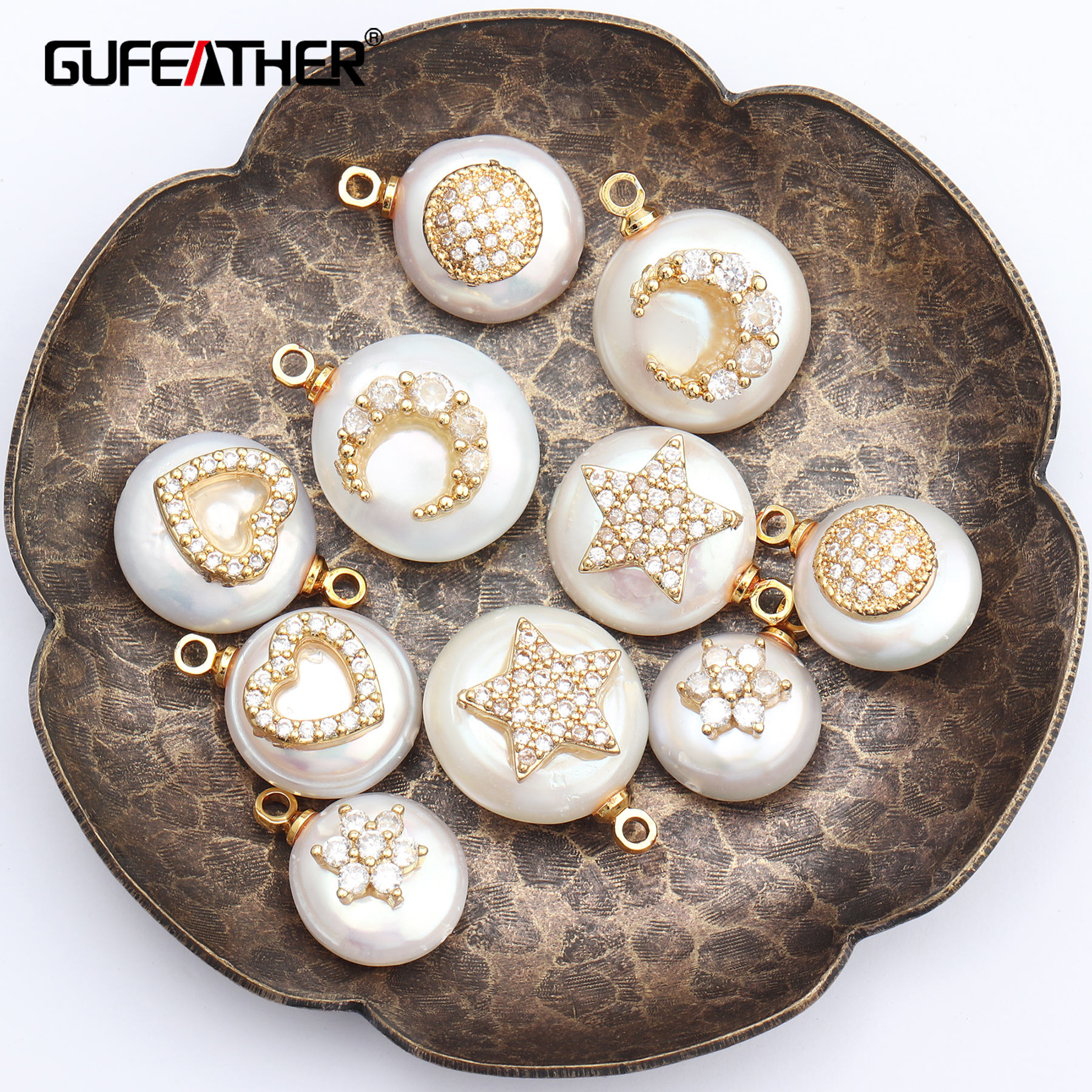 GUFEATHER M461,jewelry Accessories,pearl Pendant,hand Made,copper Metal,earring Accessories,jewelry Making,diy Earring,2pcs/lot
