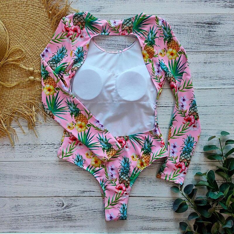 Цельный купальник с геометрическим принтом, одежда для плавания с длинным рукавом, женский купальный костюм, ретро купальник, винтажный Цельный купальник для серфинга