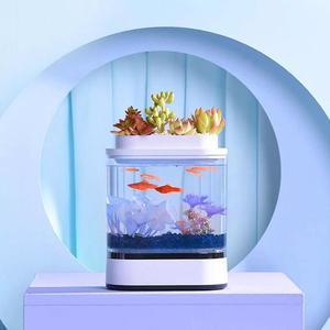 Image 2 - Xiaomi mijia geometria mini tanque de peixes preguiçoso usb carregamento auto limpeza aquário com 7 cores led luz do escritório em casa aquário