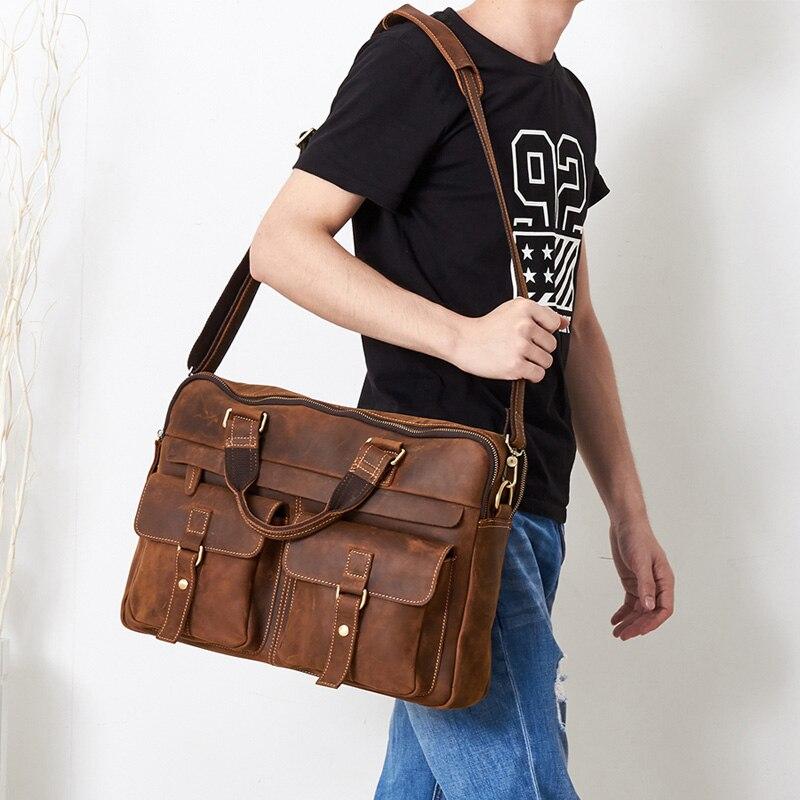 Vintage Travel Briefcase 100% Genuine Leather Men Hand Bag Laptop Briefcases Office Bags For Men Business Mens Bag Brown