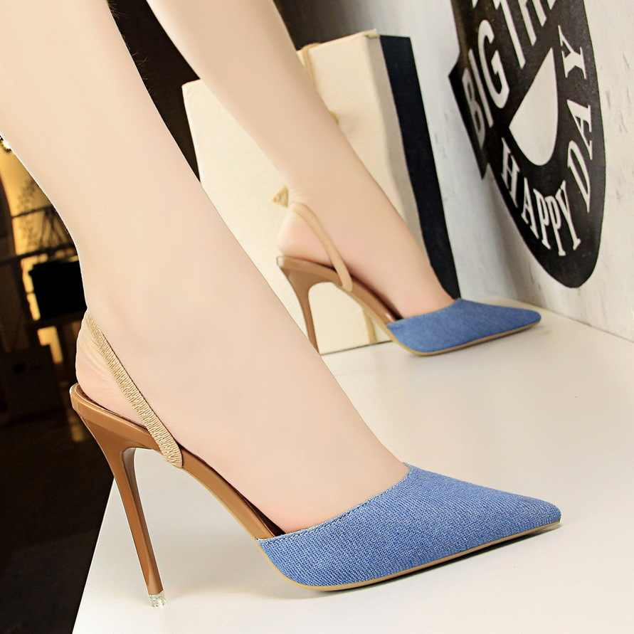 เกาหลีรุ่นรองเท้าแตะ Fine รองเท้าส้นสูงบางปากตื้นชี้ DENIM พื้นผิวคำผู้หญิงรองเท้าแตะ