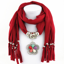 5 flower color Polyester Drop Scarf Ladys Shawl Jewelry Colored Turquoise Flower pendant scarf