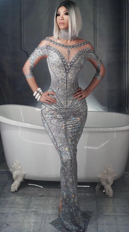 Sexy Shining Stones Gray Dress Big Stretch Long Dress Party Women Singer Nightclub Dance Shinning Dress Skinny Dress