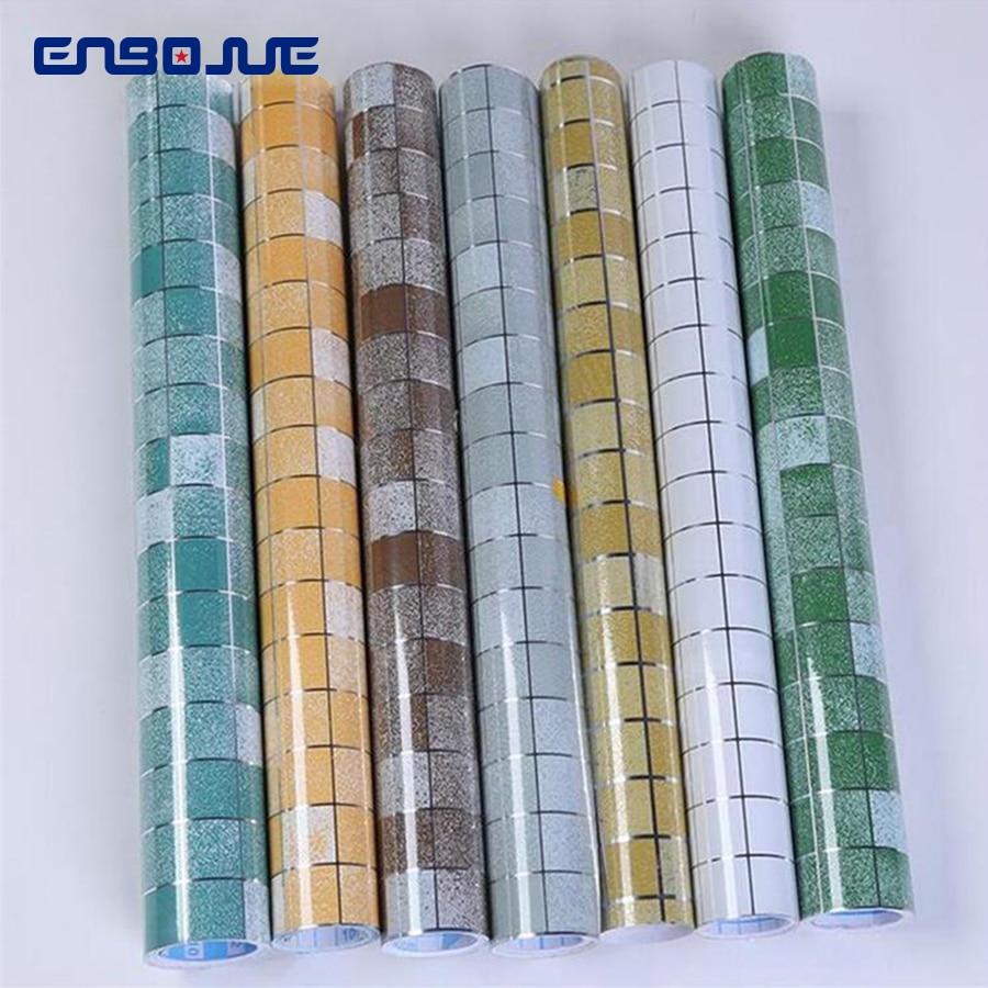 Self-adhesive Kitchen Oil Decorative Film Bathroom Wall Sticker Balcony Waterproof Wallpaper Mosaic Aluminum Foil Tiles Stickers