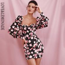 Mini Dress LEMONADE Long-Sleeve Flower-Print Party Bodycon Black Sexy LM82243 LOVE LOVE