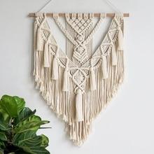 Макраме настенный гобелен настенный Декор бохо шик богемное Тканое украшение для дома 55х70см
