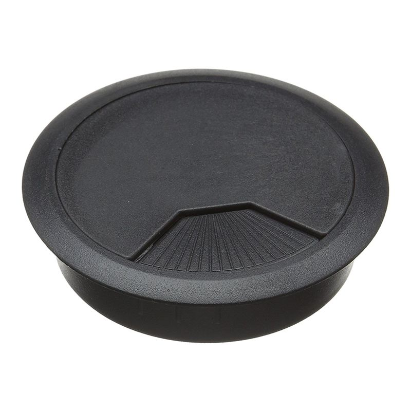 3 Pcs Black Plastic Desktop Computer 80mm Grommet Cable Hole Cover