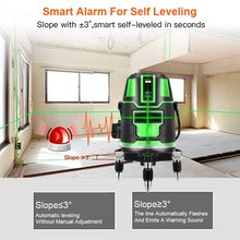 Laser Level 360-degree Rotating 2/3/5 Lines 532 Nm Green Laser Level Horizontal Vertical Cross Lines Auto Mode Measure Tool