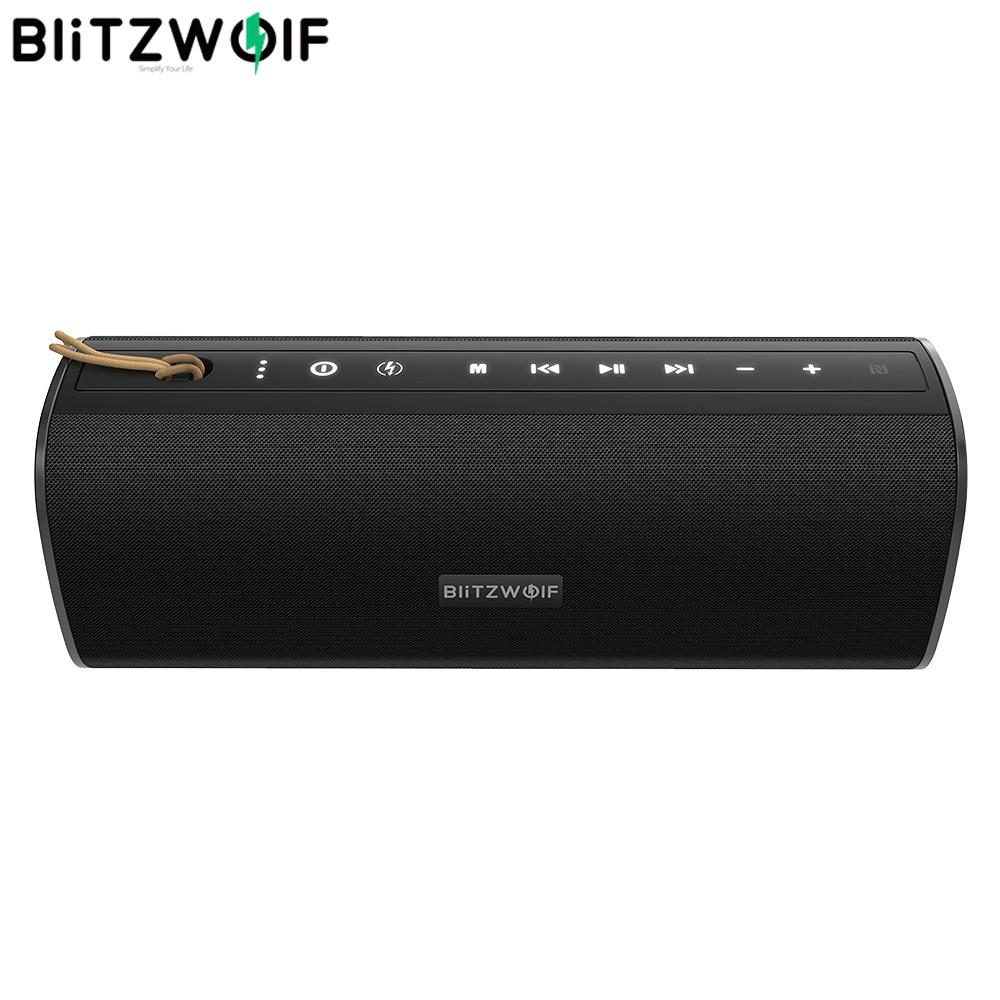 BlitzWolf BW WA2 20W sans fil bluetooth haut parleur double diaphragme passif TWS NFC basse stéréo étanche extérieur barre de son Micphone    1