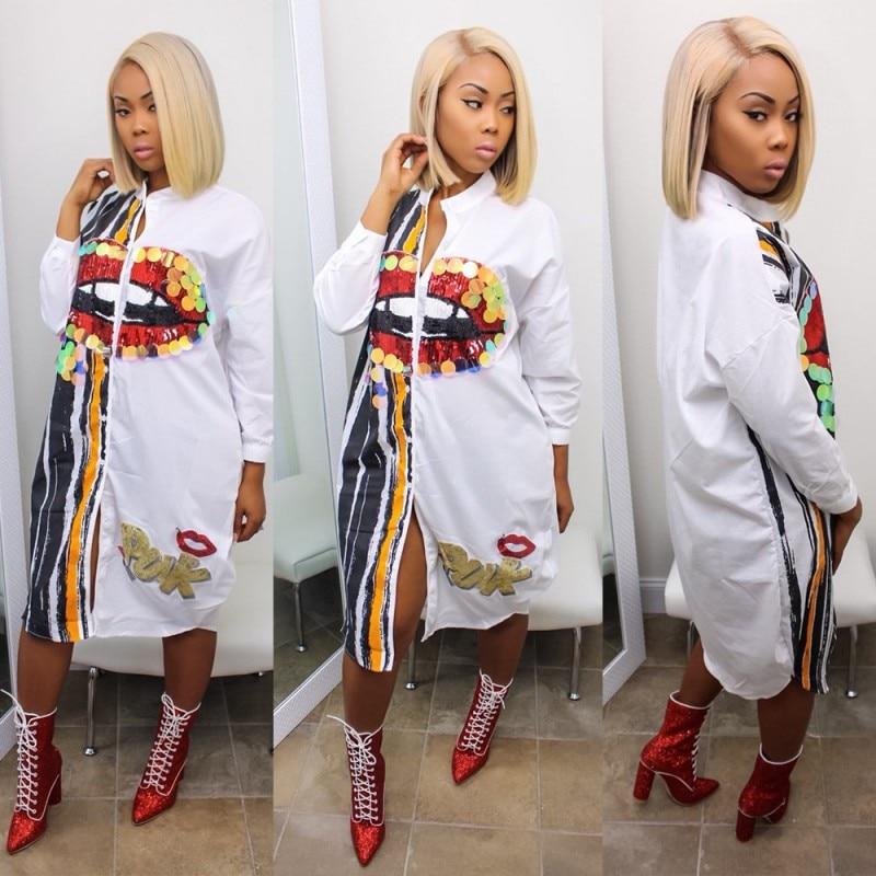 Plus Size Woman African Dashiki Sequin Big Mouth Fashion Dress Casual Bazin Riche Summer Loose Buttons Long Shirt Dress 2020