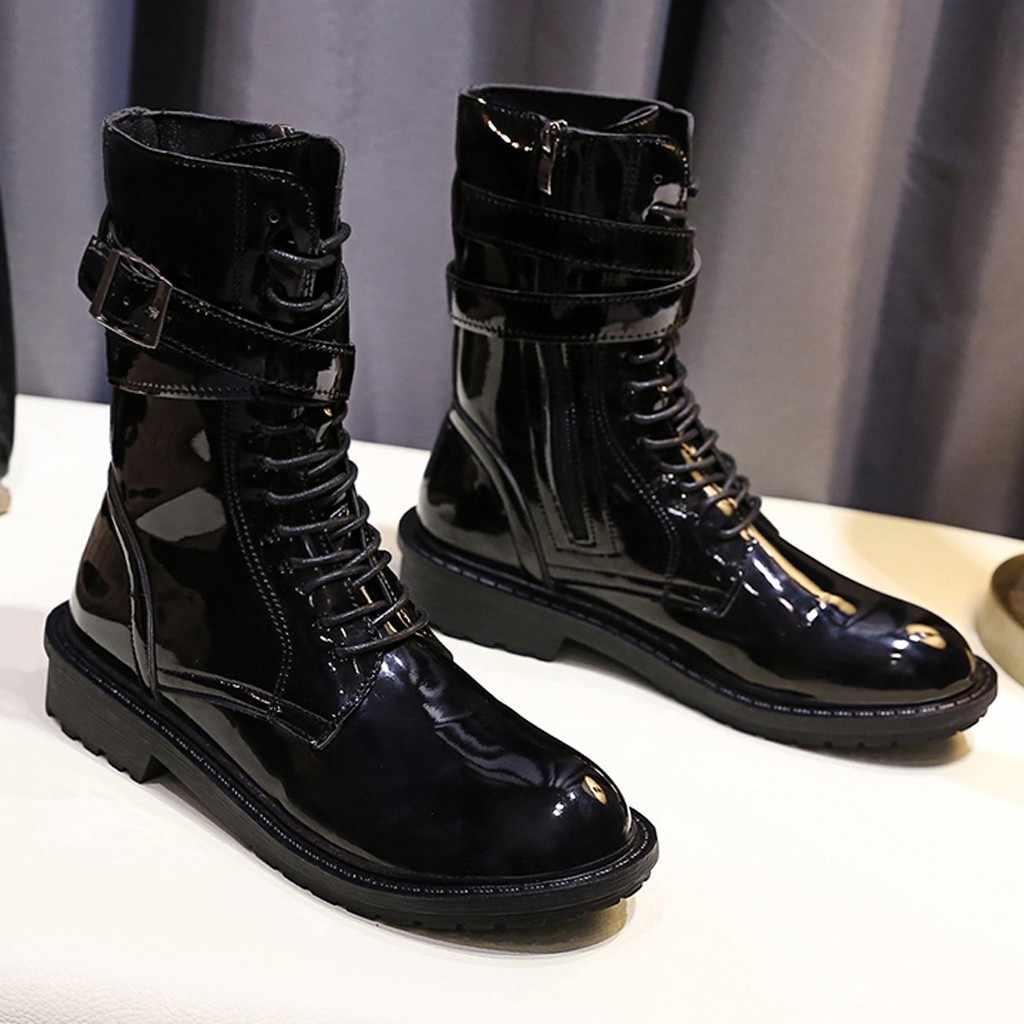Toka kayış şövalye çizmeler kadın yan Zip kare topuk ayakkabı kadın bayanlar rahat orta tüp Martin çizmeler Botines Mujer 2019
