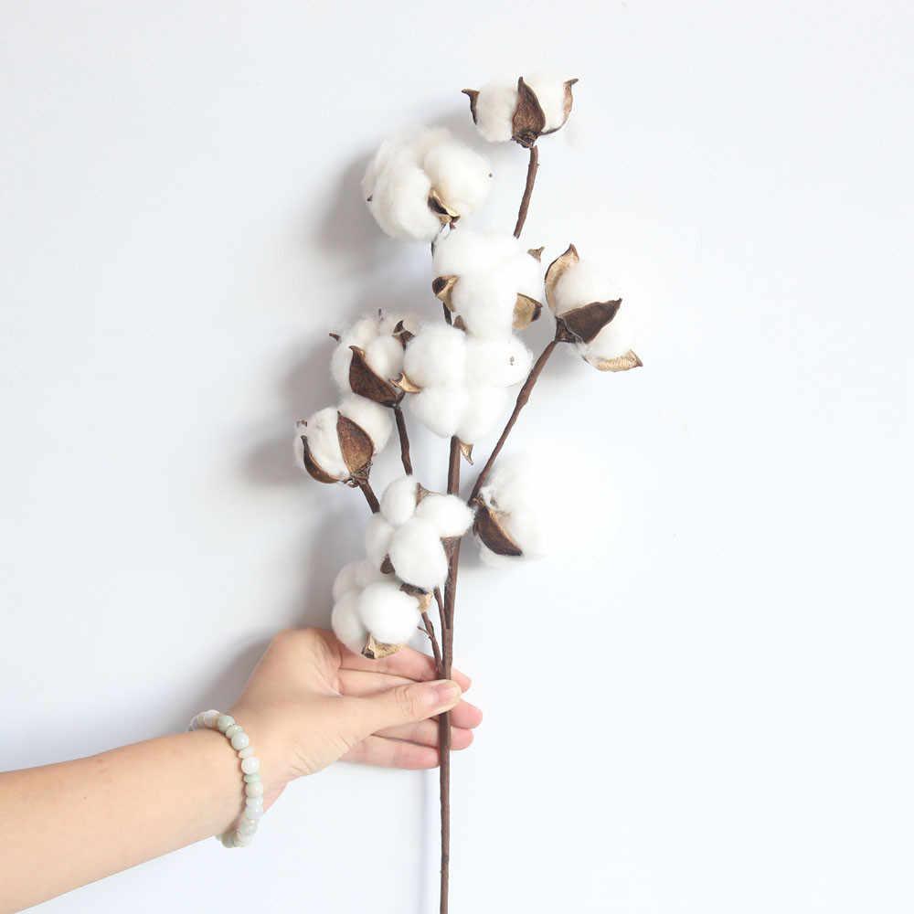 21 Inch Secara Alami Kering Kapas Batang Gaya Rumah Pertanian Buatan Bunga Filler Bunga Dekorasi