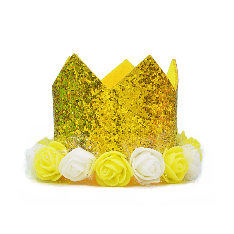 Birthday Hat Crown With Numbers Shiny Gold Powder Flower Children Adult Baby A Year Of Age Cake Party Hats