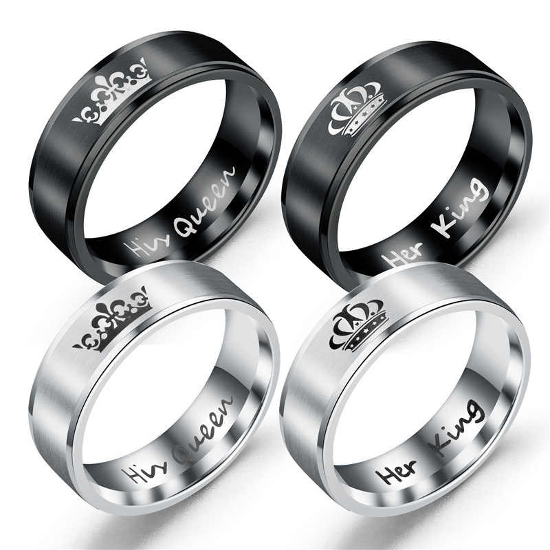 Hot Selling Vintage Titanium Steel Crown Rings His Queen Her King Black Silver Men Women Couple Finger Ring Gift Classic Jewelry