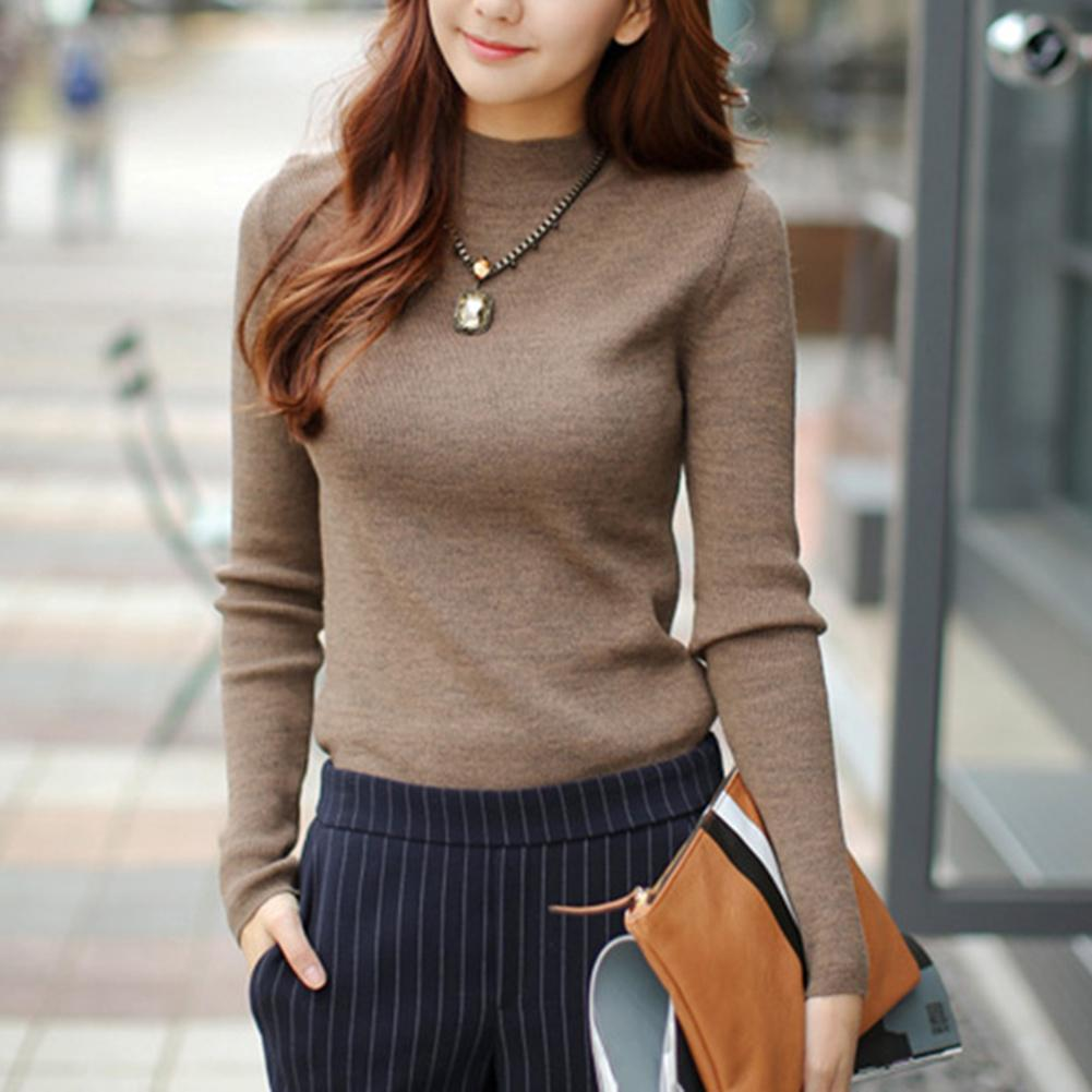 Casual Women Winter Solid Color Turtle Neck Fleeced Lined Warm Knitted Sweater Women Warm Knitted Sweater Warm Knitted Sweater