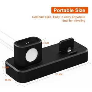 Image 5 - 3 in 1 Charging Dock Station For iPhone Airpods Charge Holder For Apple Watch 2 3 4 Silicone Charging Dock Station Stand Holder