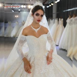 Image 1 - Trouwjurk mariage brautkleid 2020 weg von der schulter ärmel hochzeit kleid echt fotos gleiche 100%